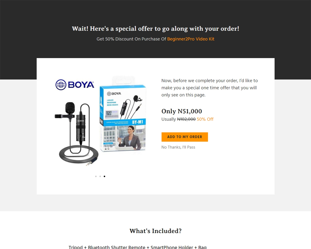 sales funnel upsell page
